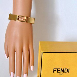 FENDI Baguete FF Cuff Bracelet Italian Goldplated